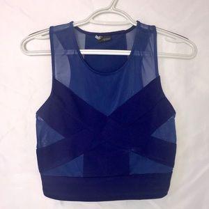 Blue mesh crop top